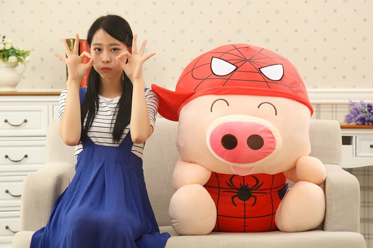 huge about 95cm McDull pig turn to spider man plush toy hugging pillow Christmas gift w8946 стоимость