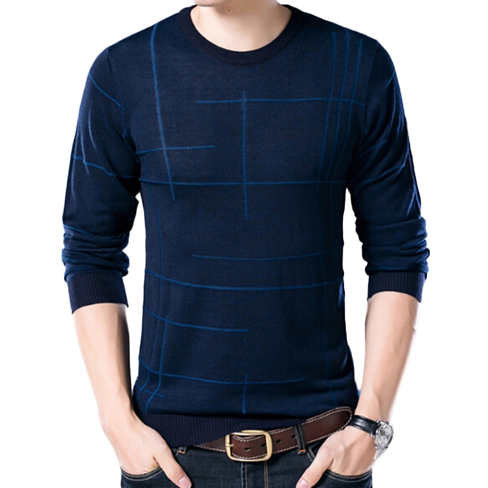 Mens Fashion Soft Sweater Casual O-Neck Autumn Warm Slim Pullover Sweater Gift For Men