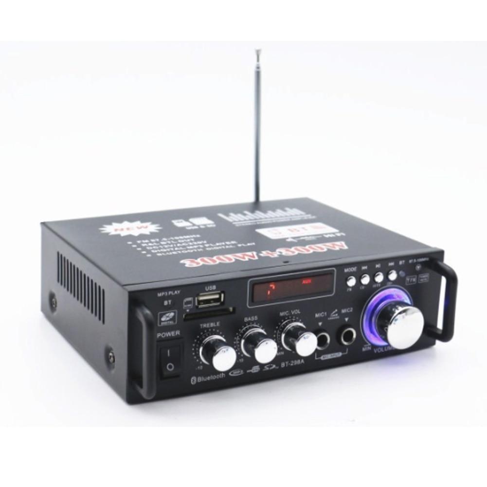 BT-298A 12V 220V Car HIFI Amplifier Audio Stereo Power Amplifier Bluetooth FM Radio 2CH Home Audio Video Home Theatre System