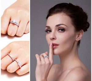 Image 4 - JPalace CZ zestaw pierścionków zaręczynowych 925 srebro pierścionki dla kobiet rocznica obrączki obrączki zestawy ślubne srebro 925 biżuteria