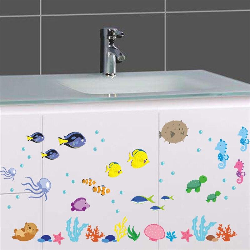 Подводный морская рыба Наклейки на стену ванная комната, Туалет Детская Наклейки на стены Home Decor Книги по искусству росписи плакат