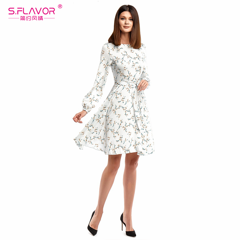 S.FALVOR Simple Women mini dress Hot sale O-neck long sleeve printing vestidos with belt Spring autumn fashion casual dress
