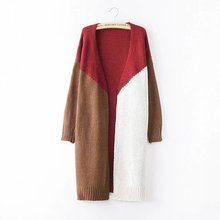women patchwork long casual sweater coat plus size autumn knitted women sweater cardigan outwear trench female