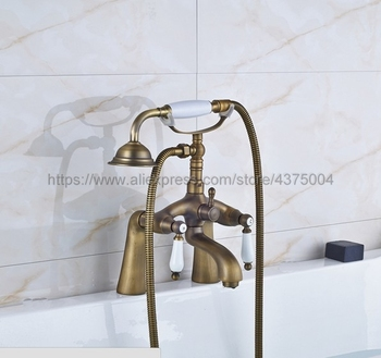 Antique Brass Bathroom Clawfoot Bath Tub Faucet Mixer Tap Ceramic Handle Hand Shower Head Nan008 antique brass wall mounted bathroom tub faucet dual ceramics handles telephone style hand shower clawfoot tub filler atf018