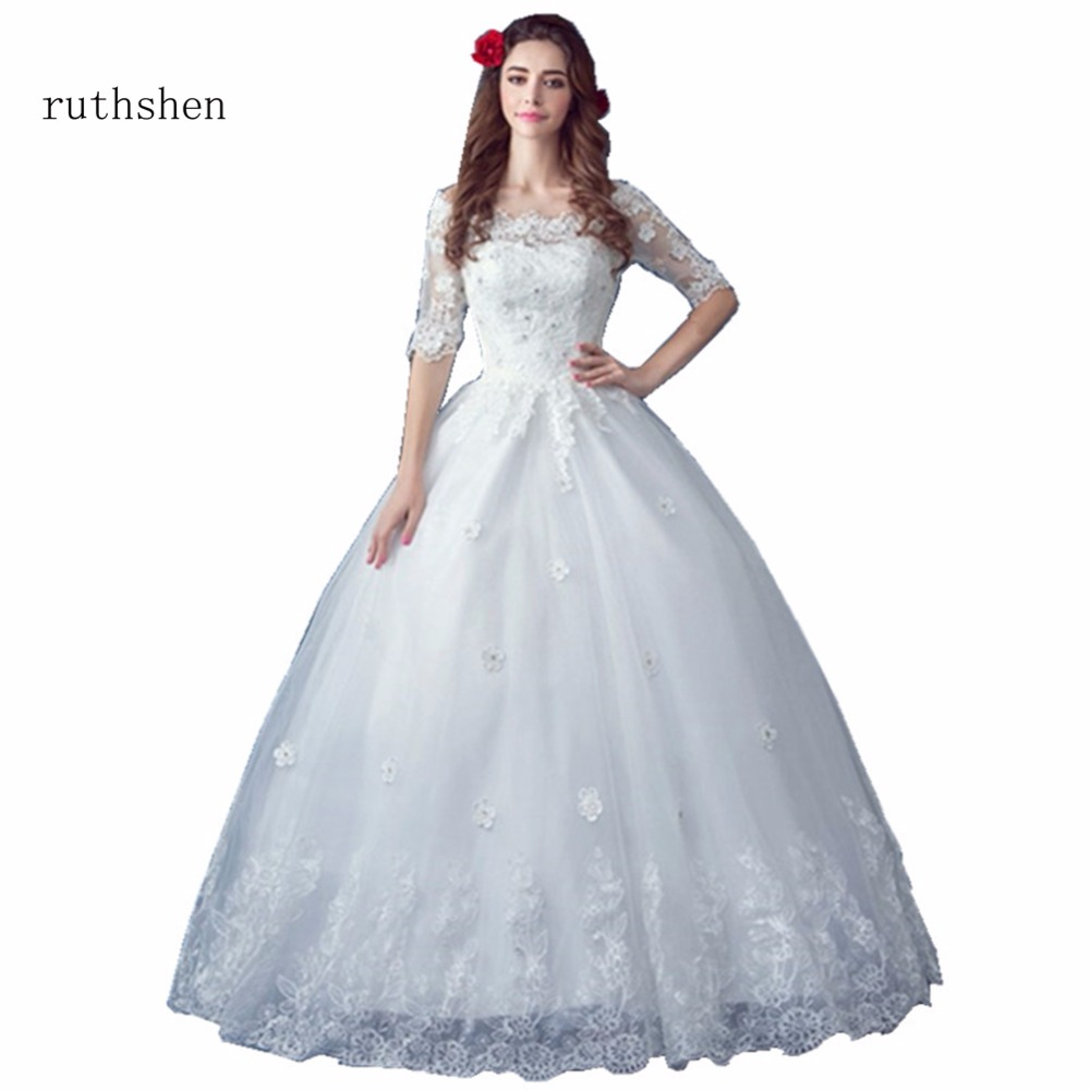 ruthshen Real Photo Simple Wedding Dress 2018 Off The Shoulder Half ...