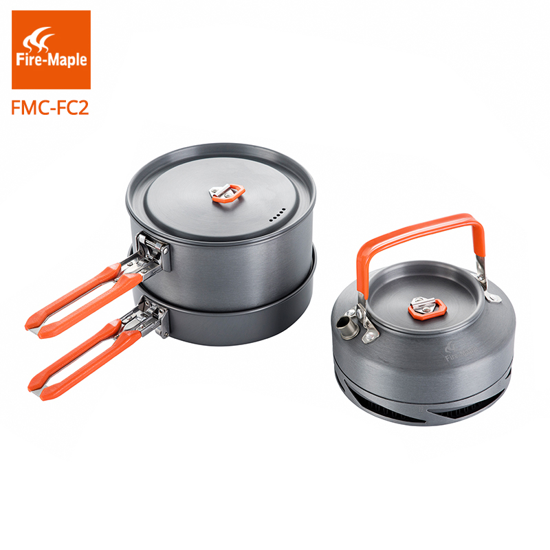 лучшая цена Fire Maple Camping Hiking Cookware Outdoor Picnic Set Heat Exchange Pot Kettle Frypan FMC-FC2 Portable Backpacking Cooking Pots