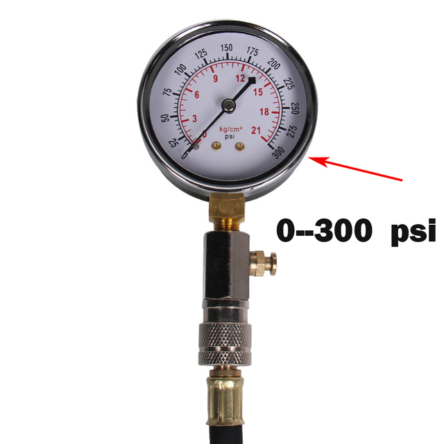 Car Auto  Motor  GASOLINE ENGINE COMPRESSION CHECK DIAL TESTER GAUGE 0-300 PSI diagnostic-tool