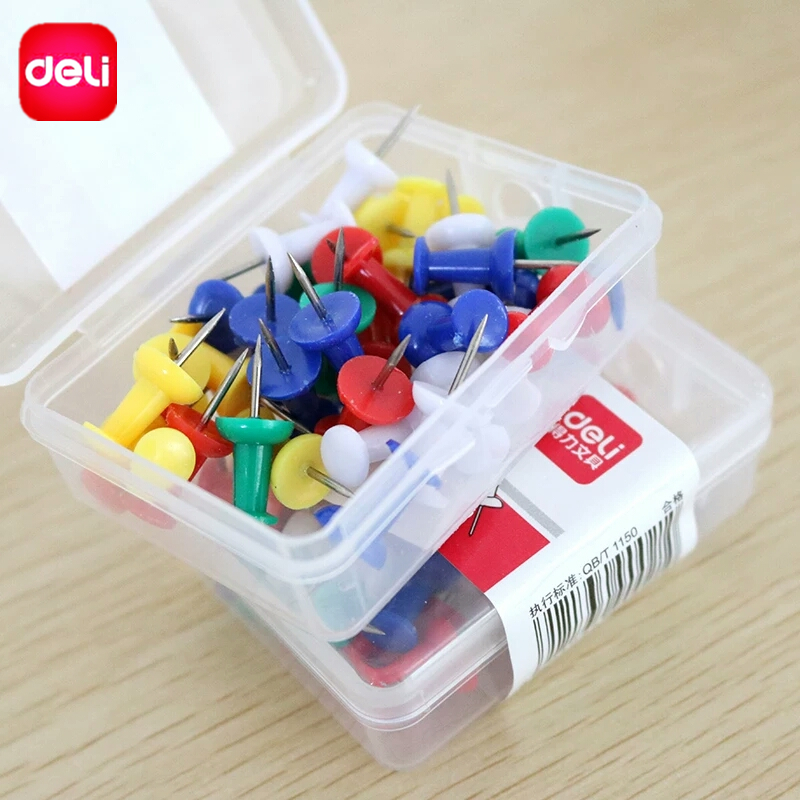 Deli 35pcs Push Pins Plastic Multicolor Board Safety Coloreds