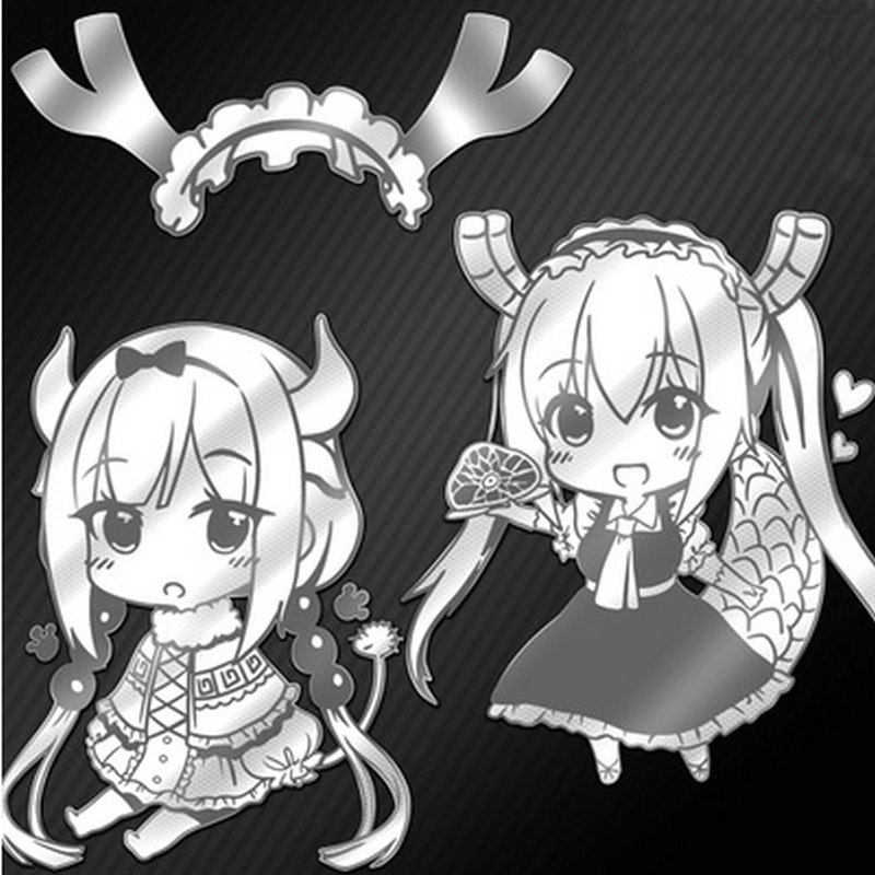 3pcs Anime Kobayashi san Chi no Maid Dragon Metal Decal Stickers for Mobile Phone Laptop Sticker