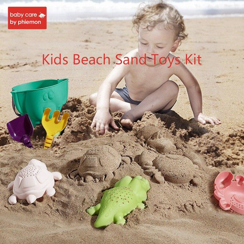 Kids Beach Sand Toys Kit Summer Seaside Bucket Shovels Rake Hourglass Set Children Outdoor Funny Crab Turtle Mold Dredging Tools