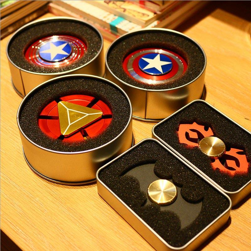 Fidget Spinner Metal Finger Spinner Captain America Shield Marvel Toy Tri Hand Top Spinners beyblade Bearing