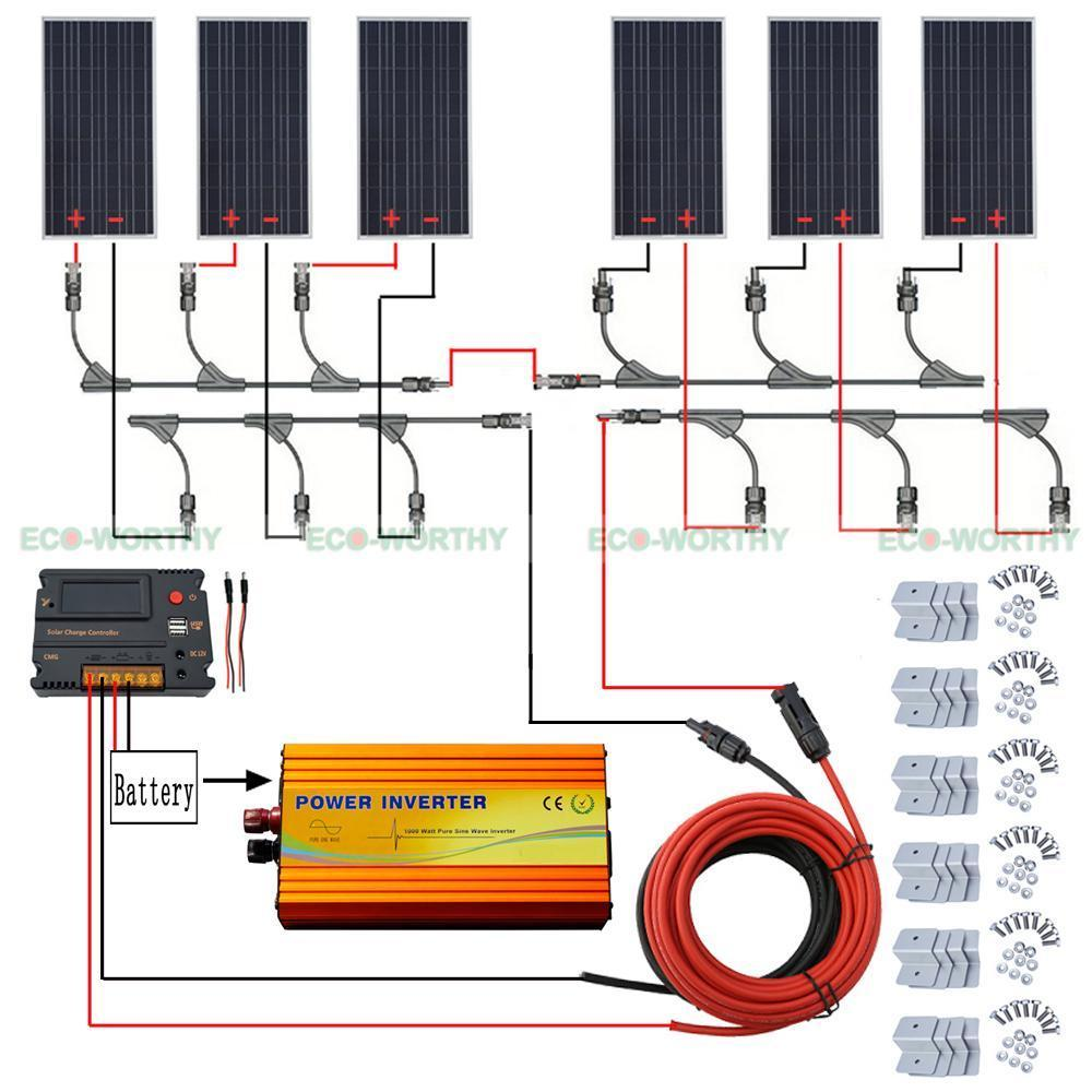 100W 12V Solar Panel 20A CMG LCD Display Controller 3KW Inverter for Car Boat Solar Generators