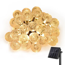 Kmashi 20ft 30 LED Crystal Ball Solar Powered Most Popular Globe Fairy Lights for Outdoor Garden Tree Lawn Christmas Decoration
