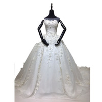 Hot Sale Luxury Real Sample High Collar Handmade Flower Cathedral Train Wedding Dresses Bridal Gowns