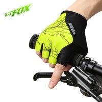 Batfox bicicleta luvas de verão esportes à prova de choque respirável poliéster metade dedo mtb ciclismo luvas|bicycle gloves|bike gloves|cycling gloves -