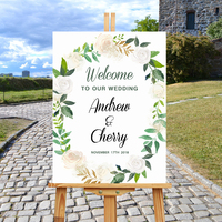 Modern Floral Leaf Pattern Welcome Wedding Sign,Beautiful Wreath Rustic Weddiing Party Entrance Sign,Welcome To Our Wedding