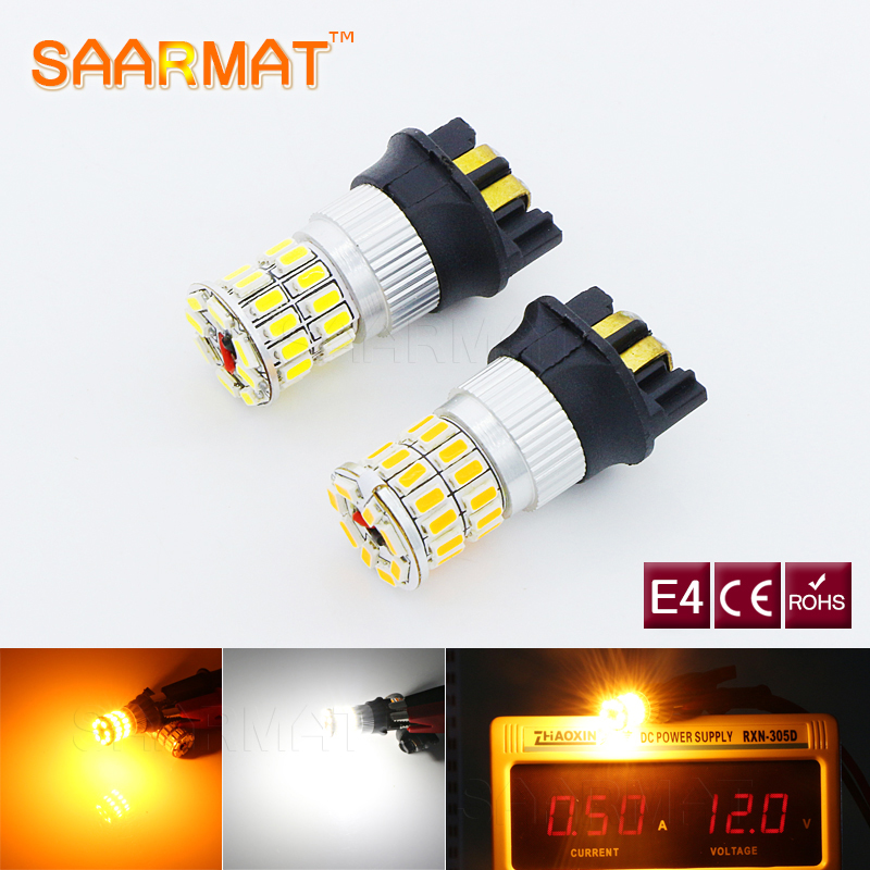2x Plug & Play Led Error Free <font><b>PWY24W</b></font> PW24W Bulbs Turn Signal or Daytime Running Lights 12V Amber white For Volvo S60 XC60 Fit image