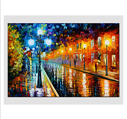 Single Hand Painted Modern Landscape Rainy Street Canvas