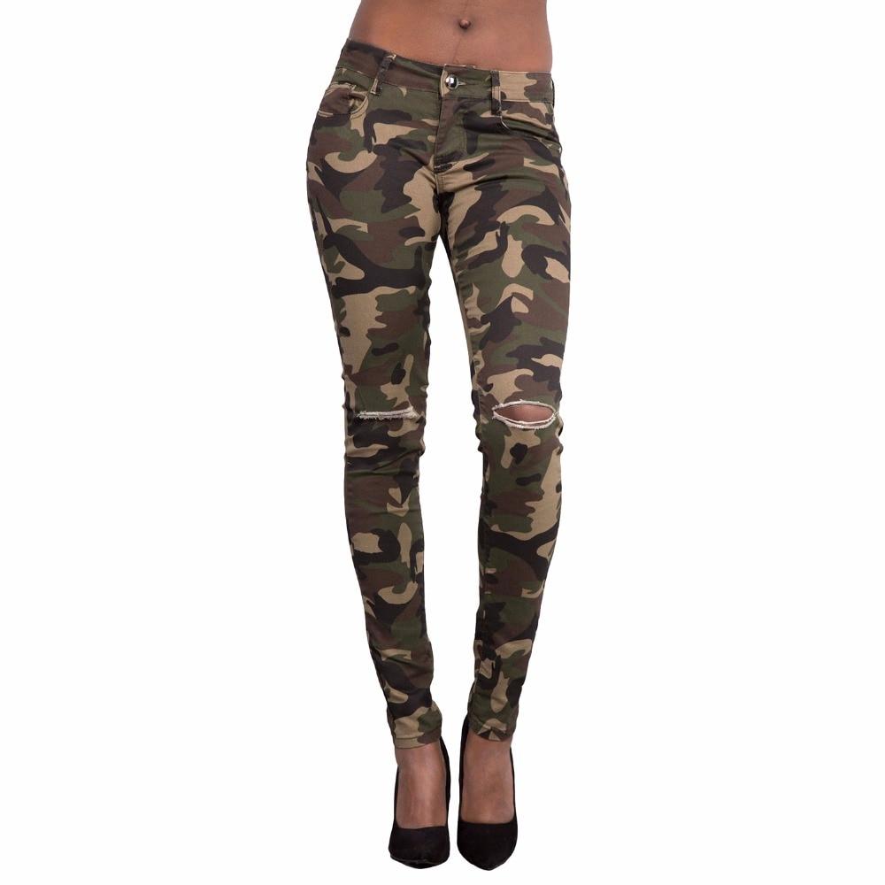 Moda Camuflaje Agujero Alta Pantalones Denim Damas Cintura Vaqueros Jeans Camouflage Bordado Lápiz 2018 Mujeres Bolsillo De Perro Las FwcCpq