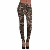 Pencil Pants Women 2017 Fashion Camouflage Dog Embroidery Pocket Ladies Jeans Vintage Trousers Women Hole Denim