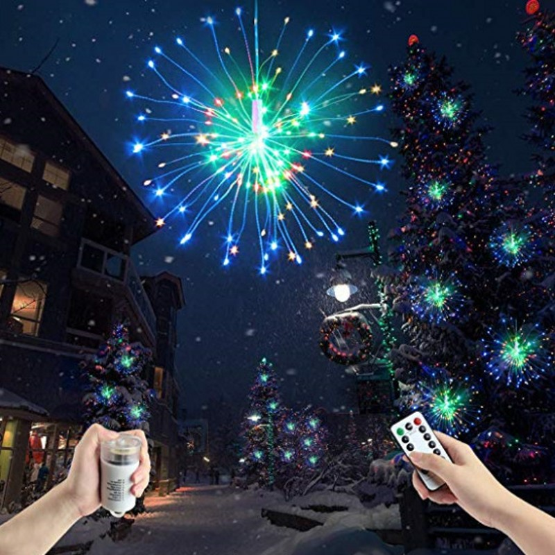 100PCS 150LEDs DIY LED Fairy String Lights 8 Mode Suspension Starburst Holiday Lights 8 Mode Remote Control Fairy Lights Garland