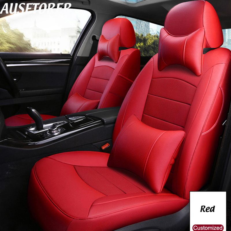 AUSFTORER Genuine Leather Seat Cover for Land Rover Discovery 3 Automobiles Seat Covers Cushion 5 & 7 Seats Supports Accessories