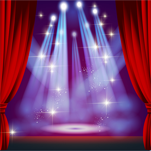 Theater Lights Background: Sparkly Light Red Curtain Stage Theatre Backdrop Vinyl