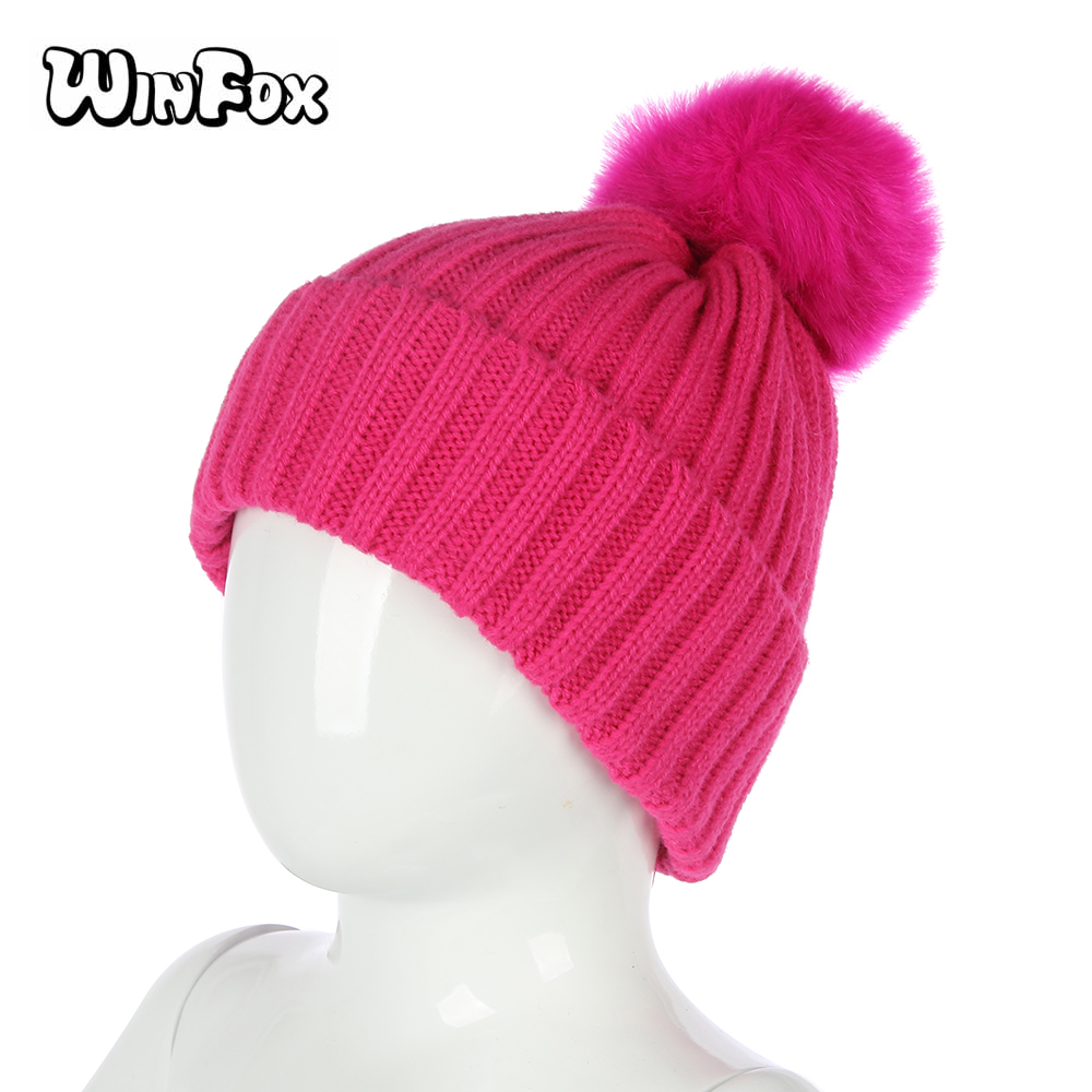 2599ead18 US $4.99 |WINFOX New Winter Fashion Black Grey Pink Solid Color Faux Fur  Pom Beanies Knitted Hats For Kids Children Girls Boys-in Girl's Hats from  ...