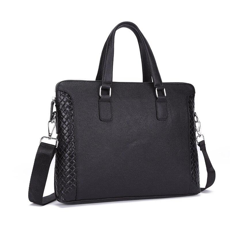 2018 High Quality Laptop Briefcase 14 inch Leather Laptop Bag Men Business Black Shoulder Bag
