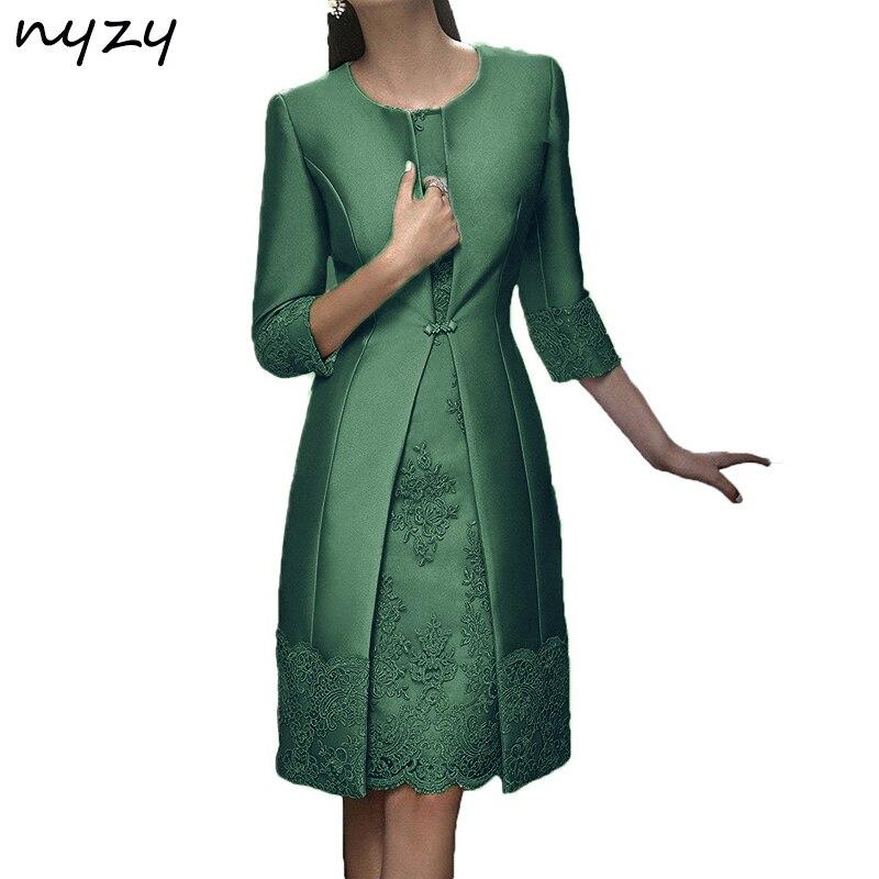NYZY M22F Real grande taille 2019 mère de la mariée robes gaine dentelle avec veste courte robe de soirée de mariage mère robes vert