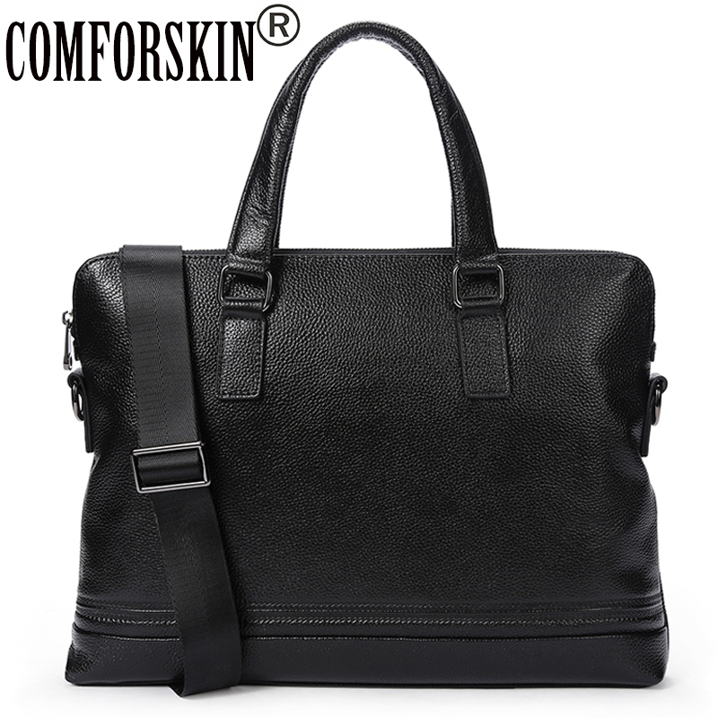 COMFORSKIN Guaranteed Premium Genuine Leather Men Messenger Bag New Arrivals Cowhide Business Men Handbag 2018 Bolsa Masculina цена