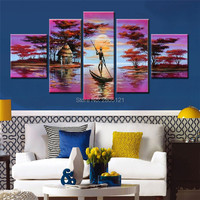 hand painted purple africa landscape canvas oil painting african river tribe scenery acrylics painting wall art picture gift