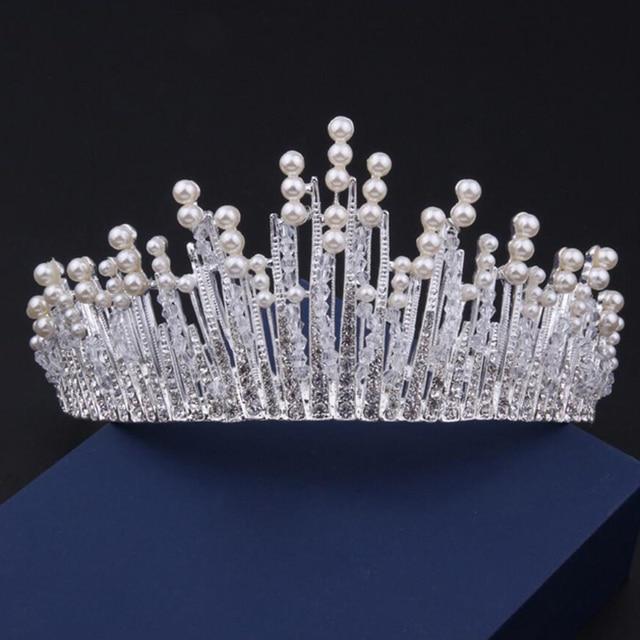 Vintage Crystal Silver Wedding Tiara Rhinestone Bridal Pageant Crowns Pearl Headpiece Headband Bride Hair Accessories Jewelry