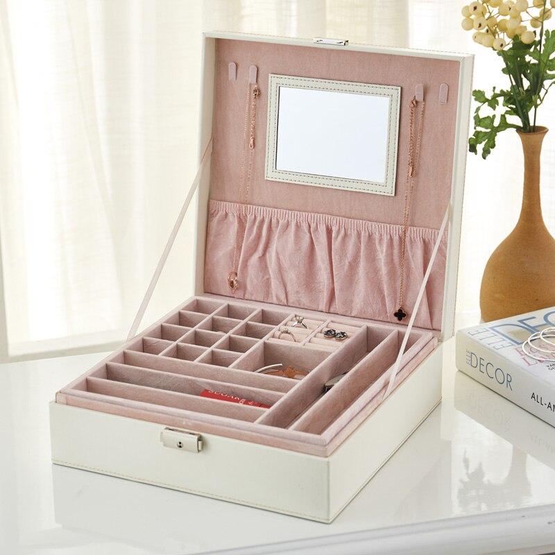 Grande boîte de rangement en cuir PU organisateur de bijoux collier anneaux perles boîtes de rangement avec miroir maquillage caske