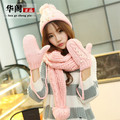 2017 Special Offer Women Adult Free Shipping Pearl Stars Hat Gloves Scarf Three-piece Winter Upset The New Fashion Lady Suite
