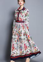 High quality 2018 New Arrival Elegant Turn down Collar Long Sleeve Flower Printed Woman Pleated Chiffon Long Dress