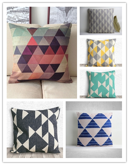 Stylish Geometric Cushion Cover Decorative Pillow Cover Rainbow Triangles Cushion Case for Mom Gifts 18*18 inch Home Decor