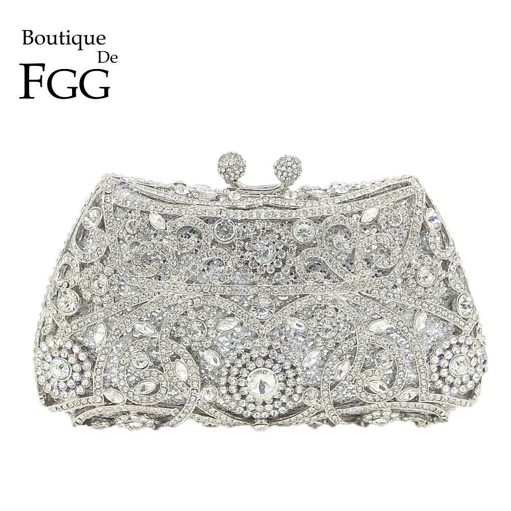 Boutique De FGG Sparkling Silver Women Crystal Clutch Evening Bags Bridal Diamond Clutch Purse Wedding Party