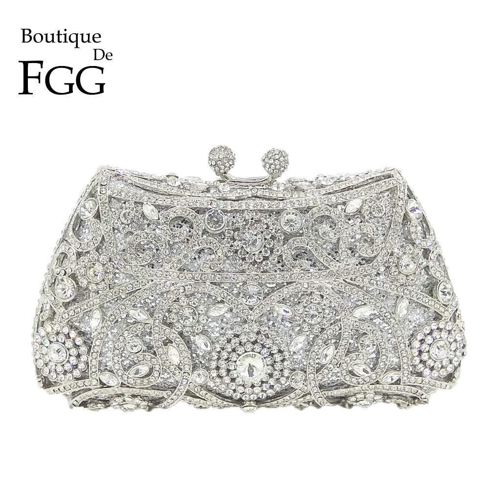 Boutique De FGG Sparkling Silver Women Crystal Clutch Evening Bags Bridal Diamond Clutch Purse Wedding Party Minaudiere Handbag