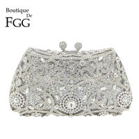 Boutique De FGG Sparkling Silver Women Crystal Clutch Evening Bags Bridal Diamond Clutch Purse Wedding Party Minaudiere Handbag