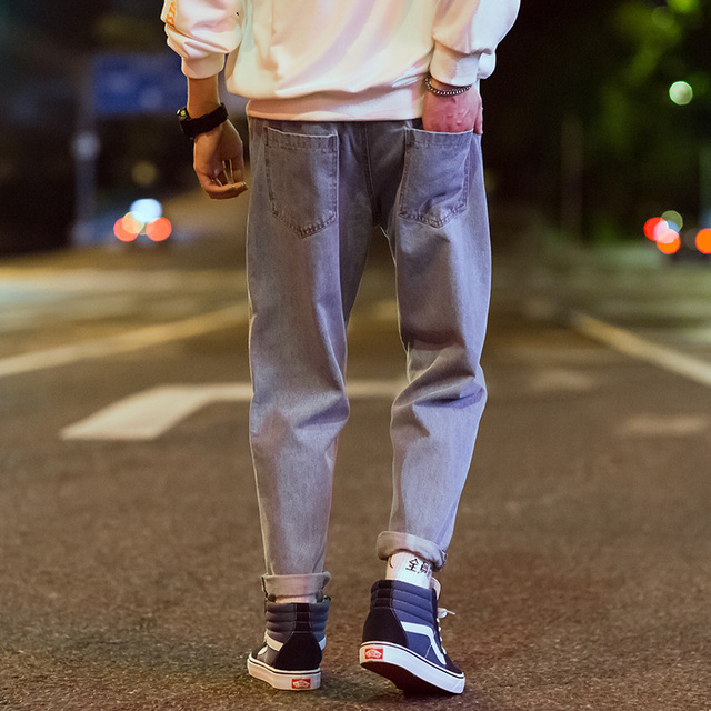 Aelfric Eden Chinese Letter Embroidery Harem Pants Men Denim Jean Hip Hop Baggy Joggers Casual Biker Jeans Retro Streetwear UR46