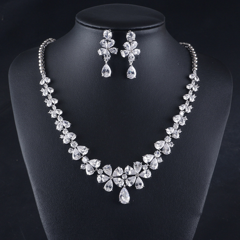 LISM Fashion Flower Drop Rhodium plating Circle Mirco Cubic Zircon Bride Jewelry Set Exquisite Necklace Earring For Women Weddin(China)