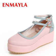 ENMAYER Size 34-39 women flats Casual Spring/Autumn  shoes Solid Flat Platform Closed Toe Buckle Strap ladies flat
