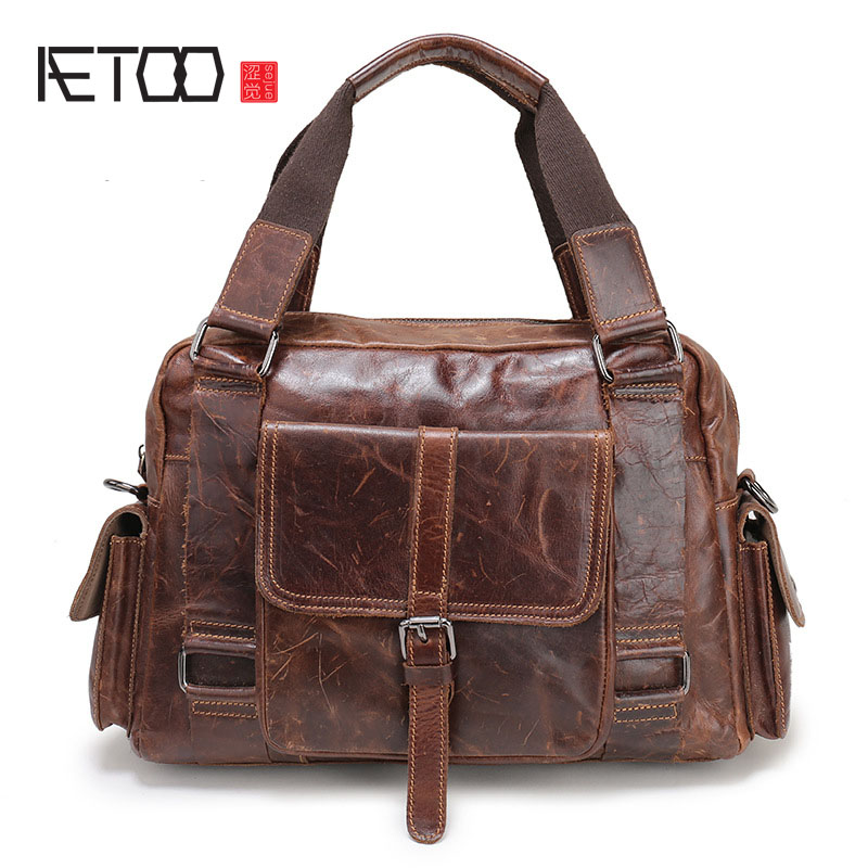 AETOO The new casual trend of leather men 's first layer of leather men' s business briefcase handbag shoulder Messenger bag
