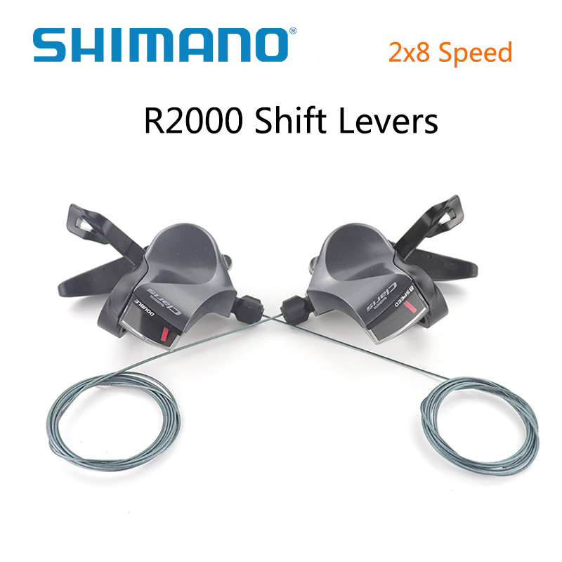 Shimano <font><b>Claris</b></font> SL-<font><b>R2000</b></font> 2x8 speed Rapidfire Plus Flatbar Shift Levers Bicycle handle Used for flat handlebars on road bike image
