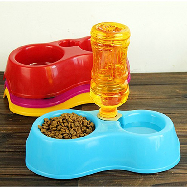 Pet Suppliers Plastic Dual Port Automatic Feeder Water Drinking Feeding Basin Bowls For Cats Pet Dogs without Bottle Hot Sa