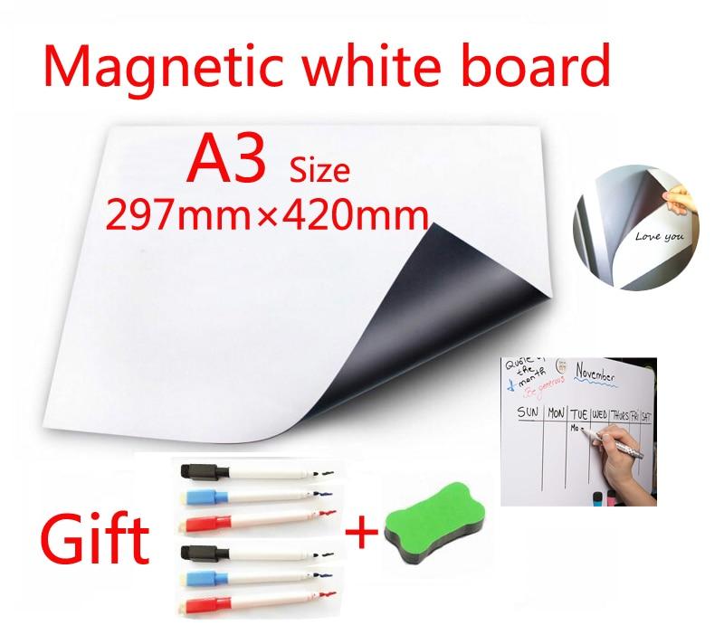 A3 Tamanho Magnético Quadro Branco Ímãs de Geladeira Adesivos de Parede Lousa para As Crianças Da Escola Home Office Dry-erase Board Branco placas