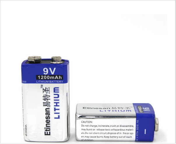 2pcs/lot 1200mAh ETINESAN 9v Li Batteries 9V Li-ion Lithium Battery Ultra Long Life USE for Smoke Alarms
