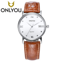 ONLYOU  Luxury Brand Leisure Sports Men Wrist Watch Couple Watch Military Quartz Leather Clock Woman Wristwatch 5Bar Wholesale