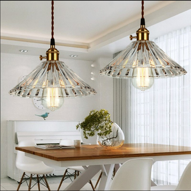 Glass chandelier retro simple Restaurant Bar crystal umbrella pendant lamp single head industrial coffee bar lighting